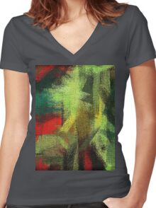 Abstract painted canvas #3 Women's Fitted V-Neck T-Shirt