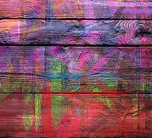 Abstract painted wood by Nhan Ngo