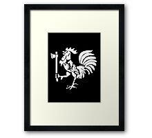 Kenyan Court of Arms Cockerel with Axe - White Framed Print