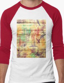 Abstract painted wood #4 Men's Baseball ¾ T-Shirt