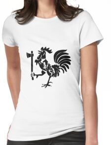 Kenyan Court of Arms Cockerel with Axe - Black Womens Fitted T-Shirt