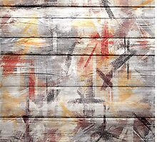 Abstract painted wood #5 by Nhan Ngo