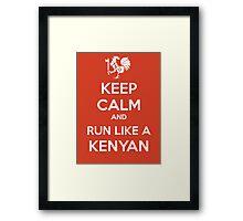 Keep Calm and Run Like a Kenyan - White Framed Print
