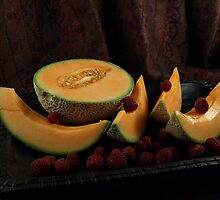 CANTALOUPE AND RASPBERRIES by Sharon A. Henson