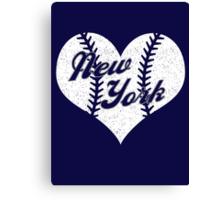New York Yankees Baseball Heart  Canvas Print