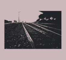 Railway Tracks at sunrise and twilight sky T-Shirt