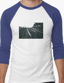 Railway Tracks at sunrise and twilight sky Men's Baseball ¾ T-Shirt