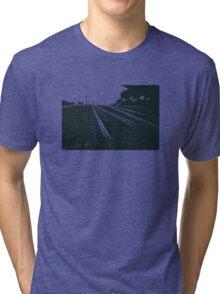 Railway Tracks at sunrise and twilight sky Tri-blend T-Shirt