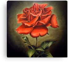 Portrait of the Red Rose Canvas Print