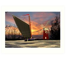 Norfolk Wherry and Windmill, Norfolk Broads - all products Art Print