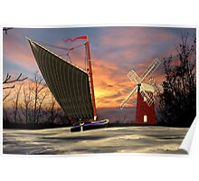 Norfolk Wherry and Windmill, Norfolk Broads Poster