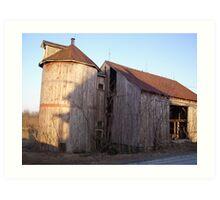 Wooden Barn and Silo Art Print
