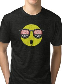 Smiley Face X-Ray Vision Goggles Distress Vintage Design Tri-blend T-Shirt