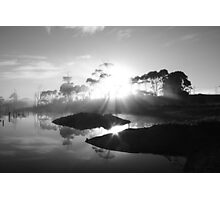 black and white sunrise at Forest  in far nor west Tasmania , Australia Photographic Print