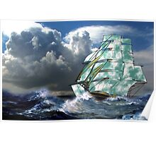 A Cloud of Sails in Rough Seas Poster