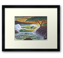 Waves Crashing at Sunset Framed Print