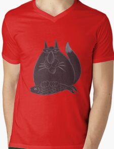 Black cat(ch) Mens V-Neck T-Shirt