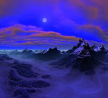 Glacial Moon on Onyx Cliffs by Randy Bufano