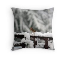 Robin in the snow Throw Pillow