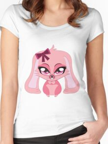 A cute little pink bunny with a bow Women's Fitted Scoop T-Shirt