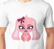 A cute little pink bunny with a bow Unisex T-Shirt