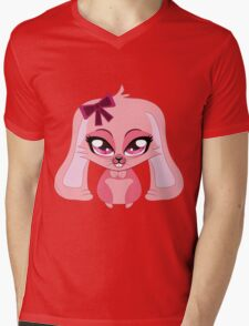 A cute little pink bunny with a bow Mens V-Neck T-Shirt