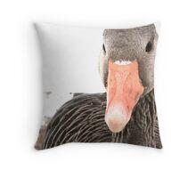 Goose and snow Throw Pillow