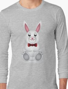 Cute white bunny with bow  Long Sleeve T-Shirt