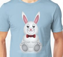 Cute white bunny with bow  Unisex T-Shirt