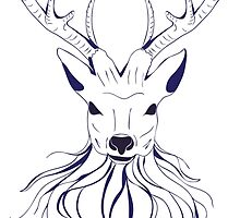 Head of a deer in hand drawn style 2 by AnnArtshock