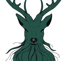 Head of a deer in hand drawn style 4 by AnnArtshock