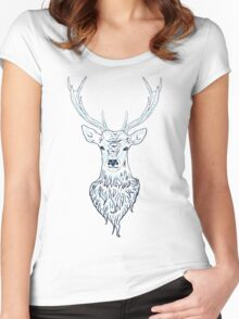 Head of a deer in hand drawn style 3 Women's Fitted Scoop T-Shirt