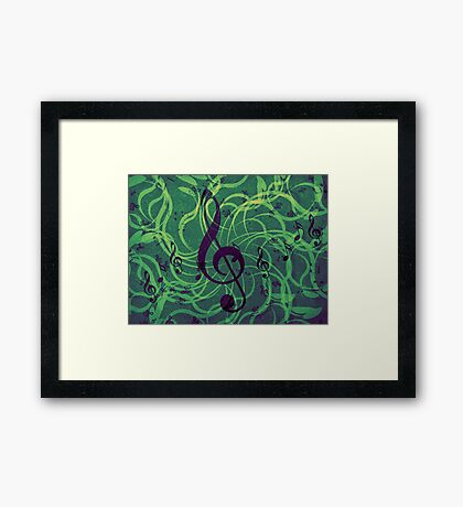 Music floral background Framed Print