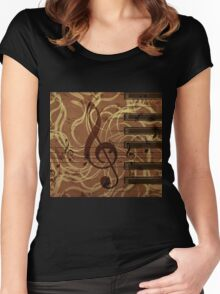 Music floral background 4 Women's Fitted Scoop T-Shirt