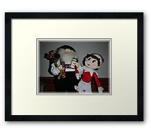 Elf and Santa Framed Print