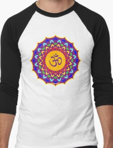 7th Chakra Mandala Yoga Om Men's Baseball ¾ T-Shirt