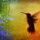 hummingbird blur with script abstract by R Christopher  Vest