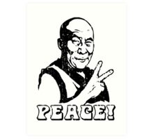 Dalai Lama Peace Sign T-Shirt Art Print