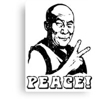 Dalai Lama Peace Sign T-Shirt Canvas Print