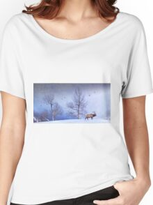 bull elk heading down valley Women's Relaxed Fit T-Shirt