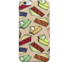 Easy As Pie - cute illustrations of pie on neutral tan  iPhone Case/Skin