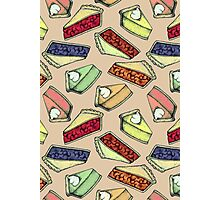 Easy As Pie - cute illustrations of pie on neutral tan  Photographic Print