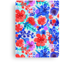 Fresh Watercolor Floral Pattern II Canvas Print