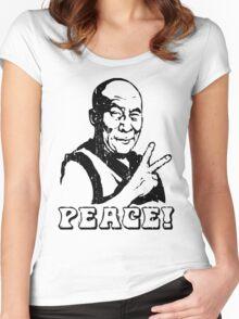 Dalai Lama Peace Sign T-Shirt Women's Fitted Scoop T-Shirt