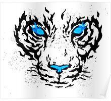 Blue Flame Tiger Poster