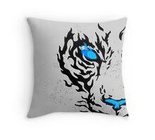 Blue Flame Tiger Throw Pillow