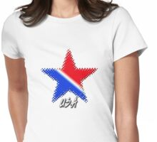 USA Flag Star Womens Fitted T-Shirt