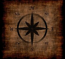 Nostalgic Old Compass Rose Design by Val  Brackenridge
