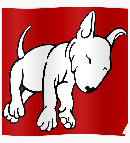 Tired English Bull Terrier Puppy Poster