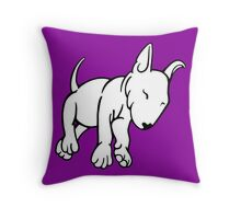 Tired English Bull Terrier Puppy Throw Pillow